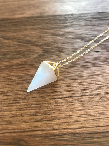 Rose Quartz Pyramid Necklace
