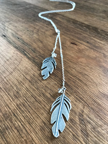 Silver Feather Slide Necklace