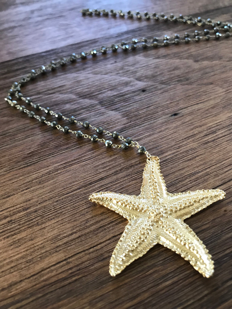 Starfish Pyrite Necklace