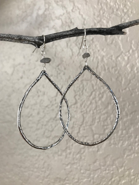 Antique Silver Labradorite Teardrop Earrings