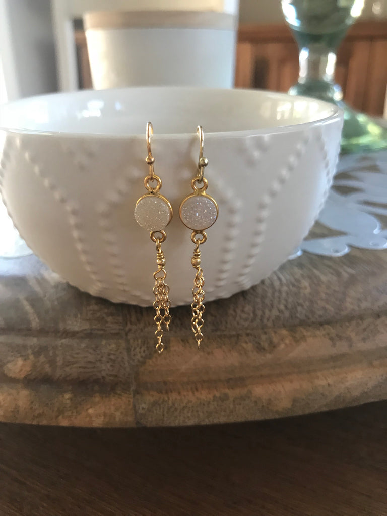 White Druzy Tassel Earrings
