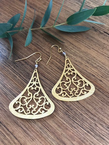Pyrite Gold Statement Earrings