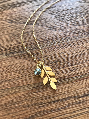 Pyrite & Leaf Necklace