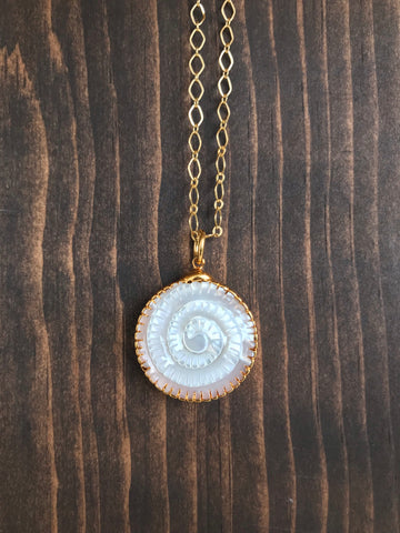 Mother of Pearl Shell Fossil Necklace