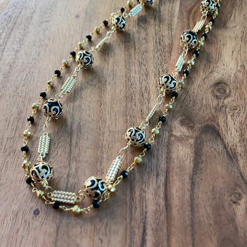 Black Onyx Detail Layer Necklace
