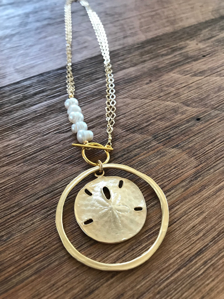 Sand Dollar Pearl Lariat Necklace