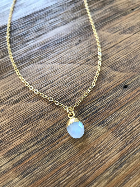 Dainty Moonstone Drop Necklace