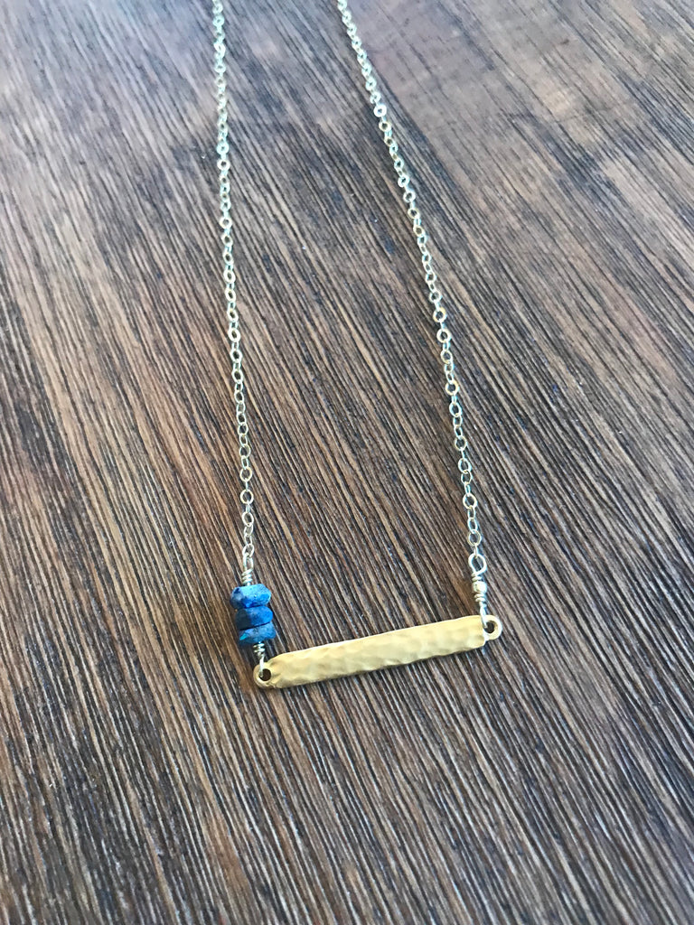 Mystic Lapis Bar Necklace