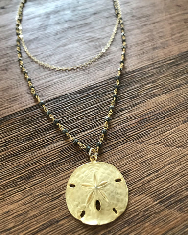 Sand Dollar Pyrite Necklace