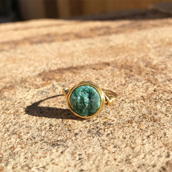 Sea Foam Druzy Ring