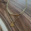 Medallion Paper Clip Layer Necklace