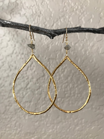Labradorite Teardrop Hoop Earrings