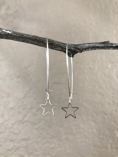 Silver Dainty Star Drop Earrings