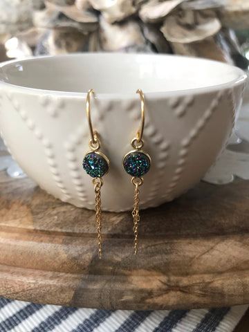 Mermaid Druzy Tassel Earrings