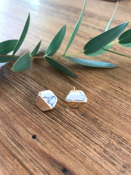 Hexagon Howlite Stud Earrings