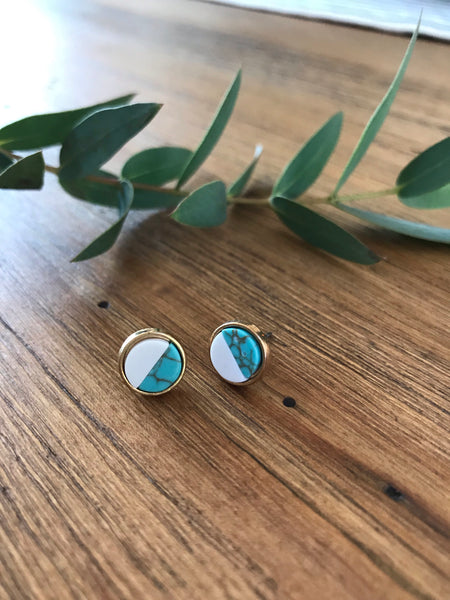 Turquoise Marble Stud Earrings