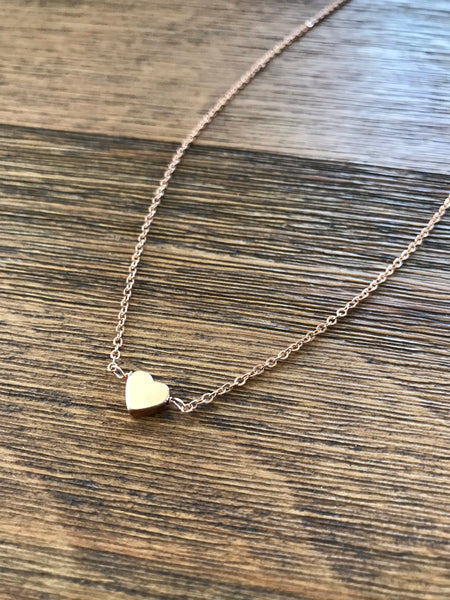 Dainty Rose Gold Heart Necklace
