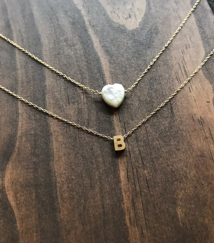 Gold Initial Necklace with Pearl Heart