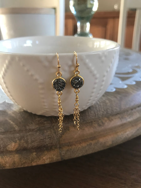 Charcoal Druzy Tassel Earrings