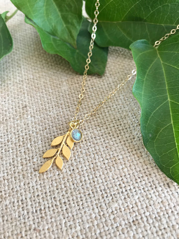 Labradorite & Leaf Necklace