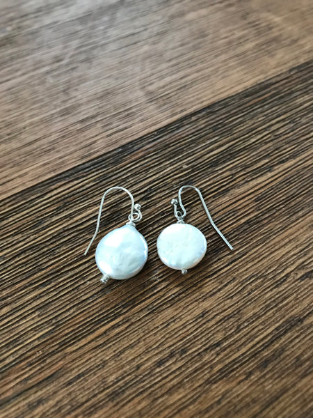 Silver Coin Pearl Drop Earrings