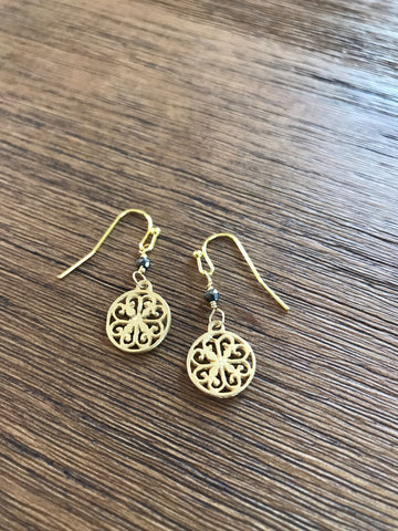Small Medallion Pyrite Drop Earrings