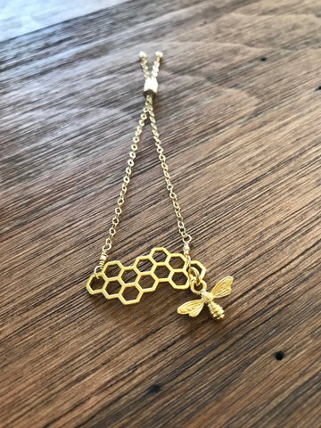 Gold Honeycomb Bee Bracelet