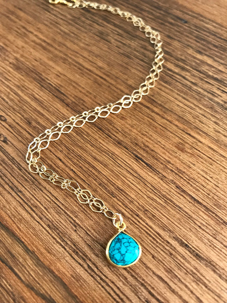 Dainty Turquoise Jasper Drop Necklace