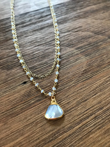Mother of Pearl Double Layer Necklace