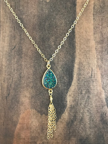 Mermaid Druzy Tassel Necklace