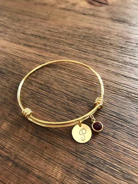Customized Initial Bangle Bracelet