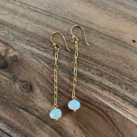 Paper Clip Pearl Drop Earrings