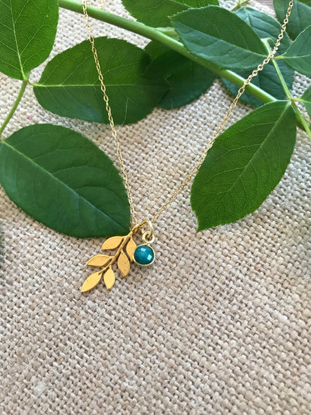 Apatite & Leaf Necklace