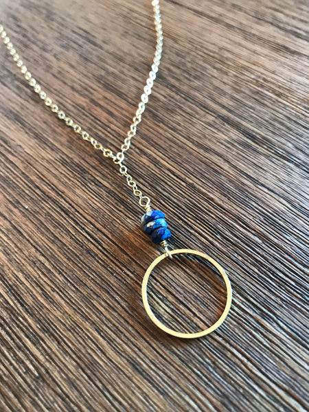 Lapis Ring Drop Necklace