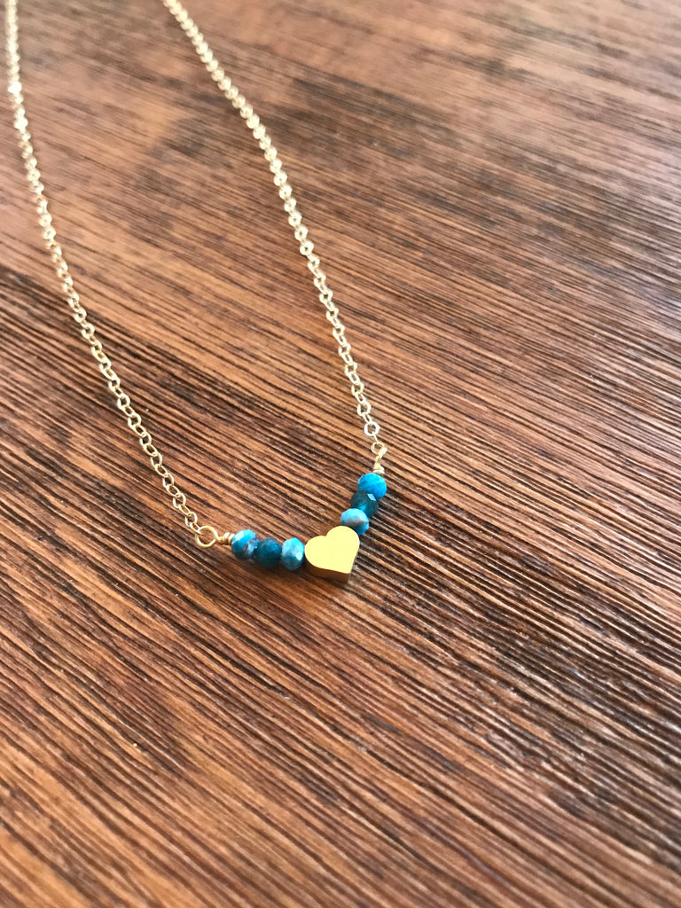 Apatite Gemstone & Dainty Heart Necklace