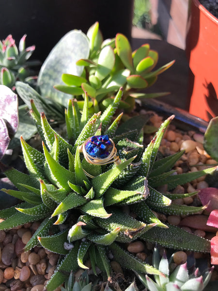 Royal Blue Druzy Ring