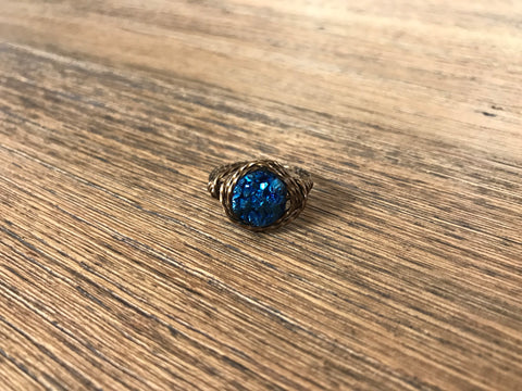 Bronze Royal Blue Druzy Ring