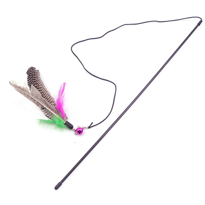 Feather String Wand Interactive Cat Toy with Bell - Durable Pet Wand for Cats-HappyFriendy