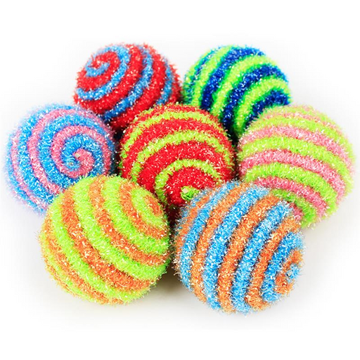 Colorful Spiral Interactive Cat Ball - Sisal Pet Ball for Cats-HappyFriendy