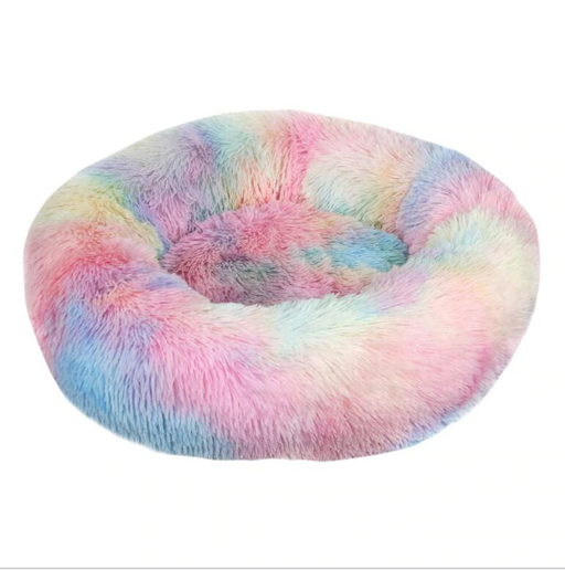 Round Plush Rainbow Cat Bed - Comfortable Long Plush Fluffy Velvet Mat for Cats-HappyFriendy
