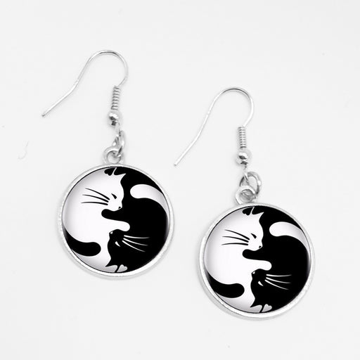 Vintage Yin Yang Cat Circular Pendant Earrings - Trendy Classic Charm Drop Jewelry