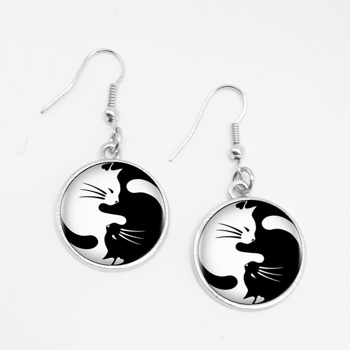 Vintage Yin Yang Cat Circular Pendant Earrings - Trendy Classic Charm Drop Jewelry-HappyFriendy