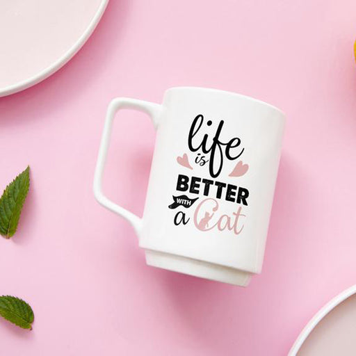 Life is Better with a Cat Mug - White