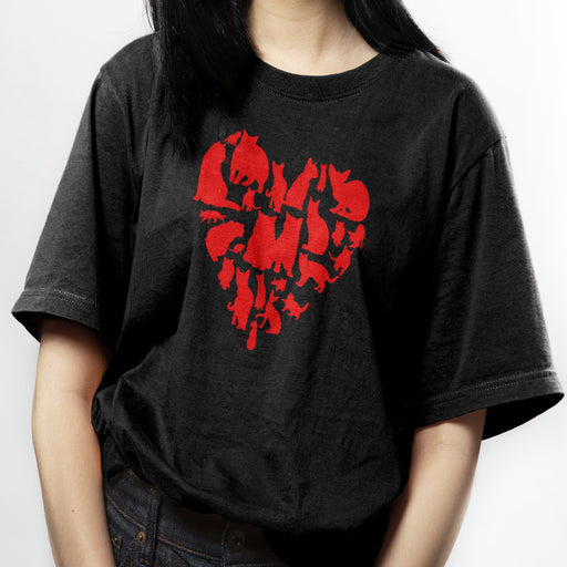 Red Heart Full of Cats Tee