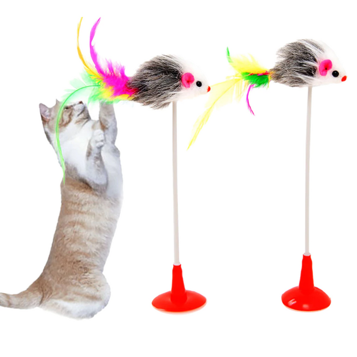 Feather Mouse Swinging Teaser Cat Toy - Durable Spring Suction Cup Mouse Toy for Cats-HappyFriendy