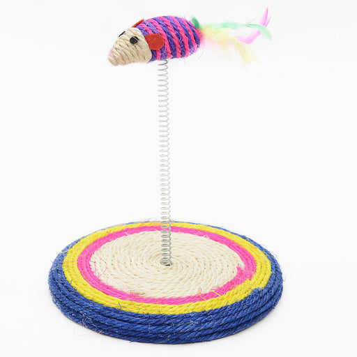 Sisal Spring Feather Tail Mouse Scratcher Cat Toy - Interactive Scratcher Toy for Cats-HappyFriendy