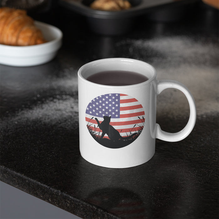 US Flag Cat Silhouette Mug