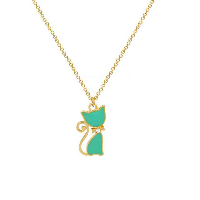 Elegant Zircon Bow-Tie Kitty Pendant Necklace - Dainty Gold Plated Cat Gold Chain