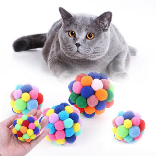 Multicolor Interactive Catnip Ball Cat Toy - Plush Eco-Friendly Pet Toy for Cats-HappyFriendy