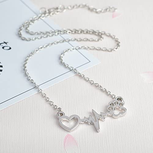 Heart Beats for Cats Stylish Pendant Necklace - Zinc Alloy Silver or Gold Gift-HappyFriendy